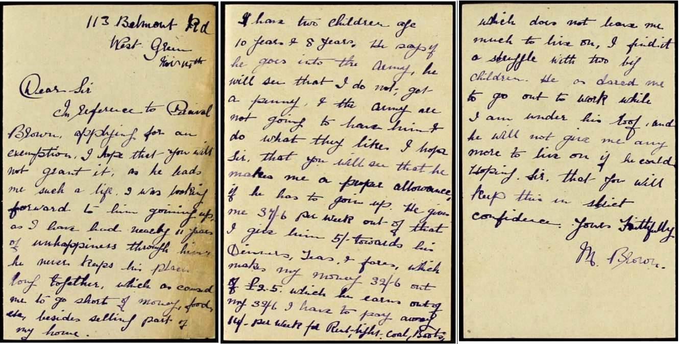 Image of handwritten letter from Mrs Brown, covering three sides of paper