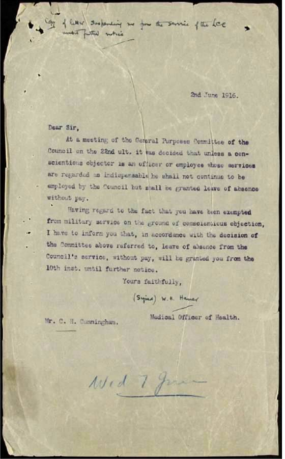 Image of typed letter sent to Charles Cunningham from his employer