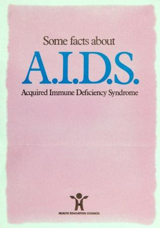 Image of pink Health Education Council AIDS advice leaflet, 1985. It reads: Some facts about AIDS