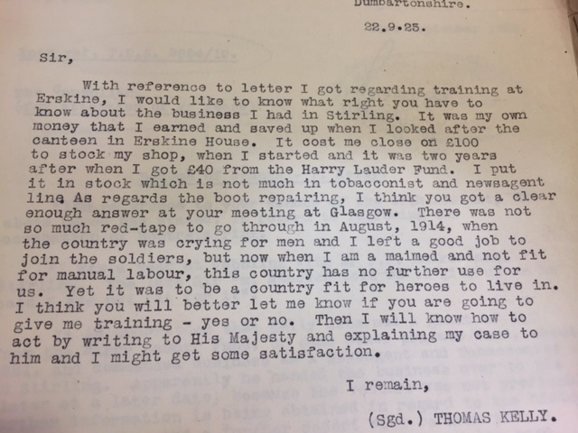 Letter written by Thomas Kelly regarding his desire for further training.