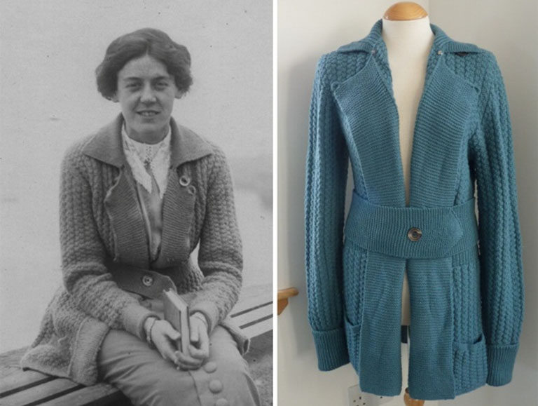Right, original photograph of Grace Crowder and left, reproduction of her cardigan produced by Liz Lovick