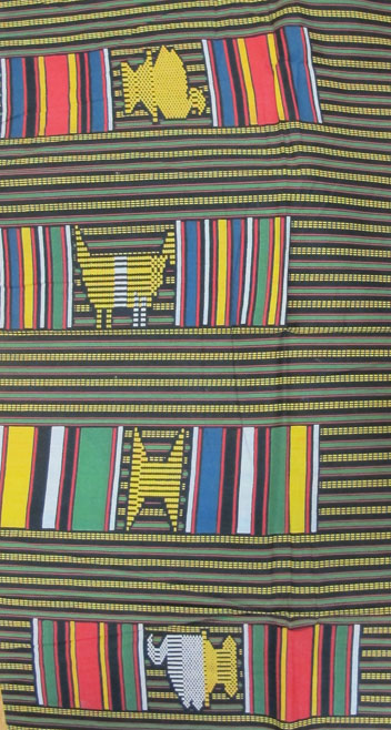 Image of a striped textile sample with African-inspired motifs
