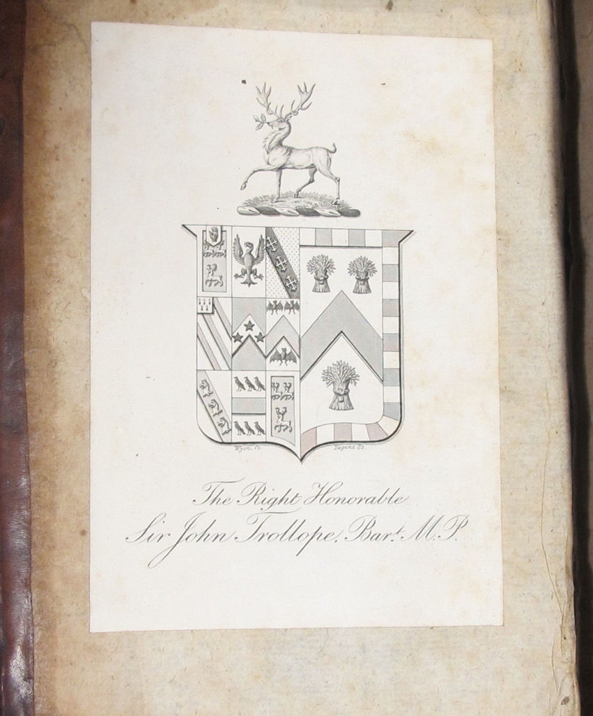 Image of the bookplate of Sir John Trollope MP featuring his coat of arms