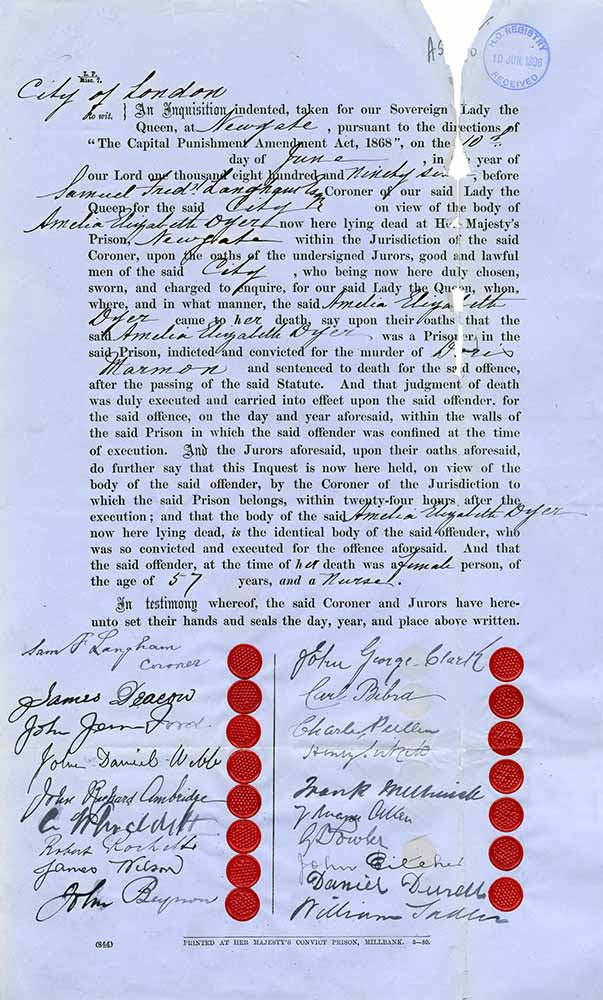 Image of the declaration of the death of Amelia Dyer