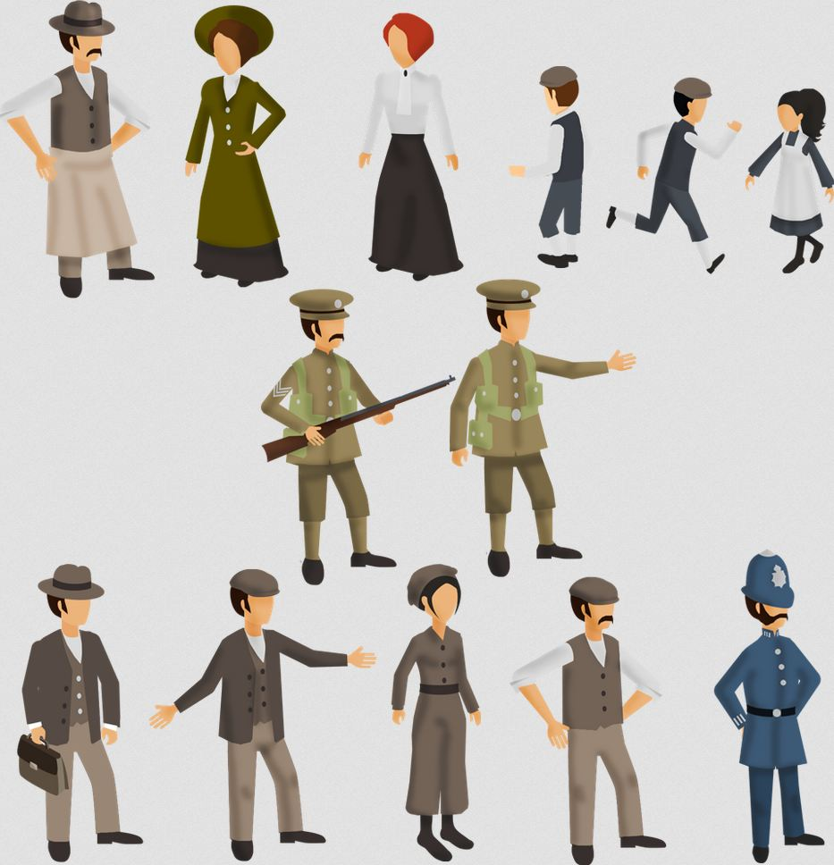 Image of 13 characters in First World War period dress
