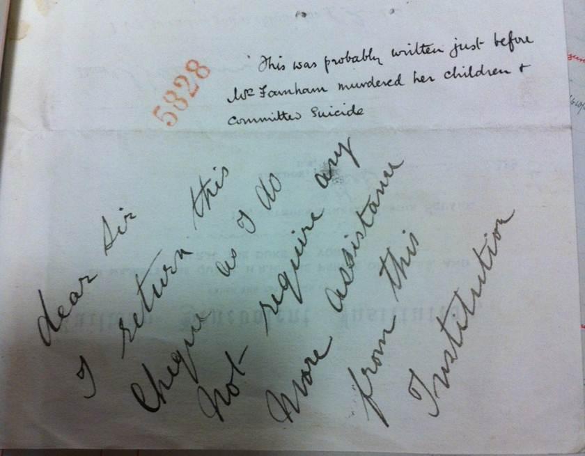 Image of Mrs Farnham's handwritten note