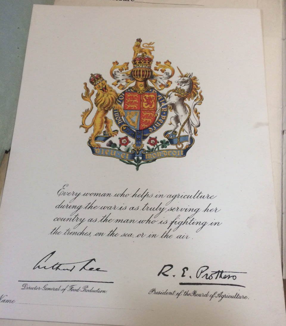 Image of Women's Land Army certificate