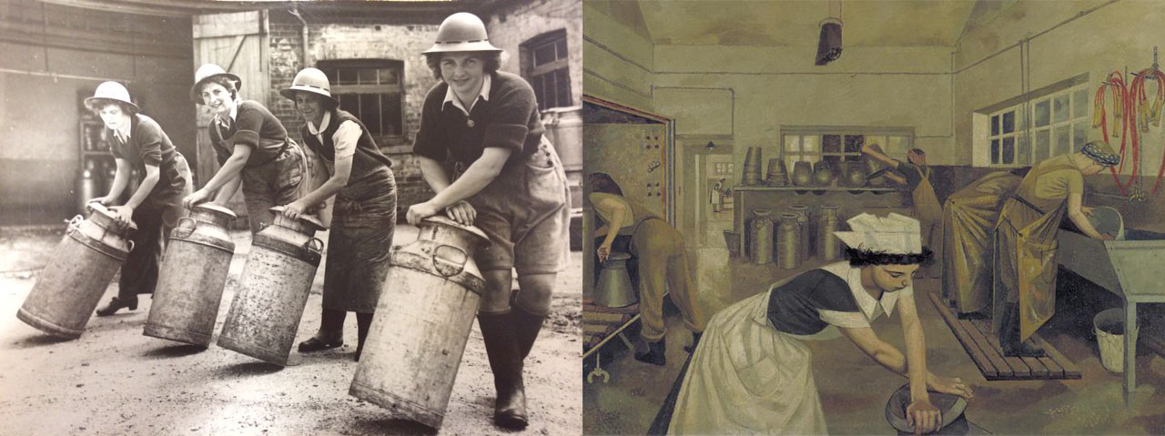 Images for Land Army girls rolling milk churns