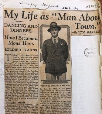 Image of a newspaper clipping concerning Colonel Barker from the Sunday Dispatch, 24.03.29. Document reference: MEPO 3/439.