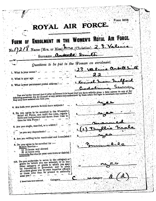 Image of airwomen's record for Lillias Irma Valerie Arkell-Smith