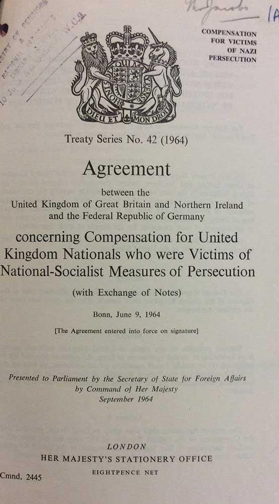 Image of the first page of the compensation agreement between UK and Germany