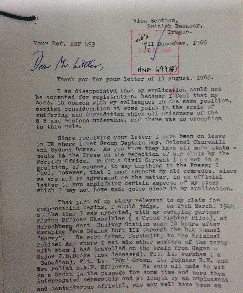 Image of typed letter from Bertram Arthur James, concerning his application for compensation