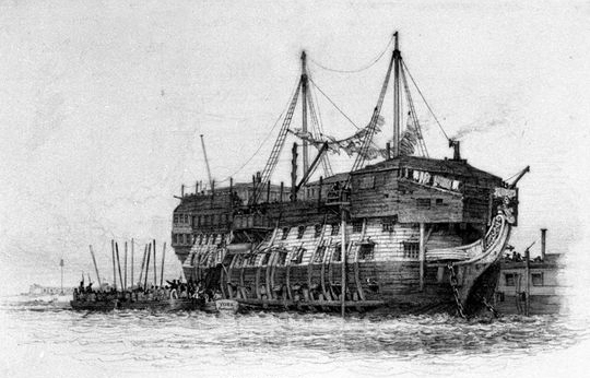Illustration of the convict hulk York, where Ashford was held