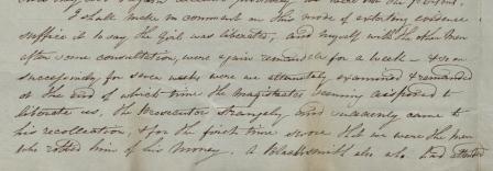 Image of Ashford's description of his treatment as a suspect
