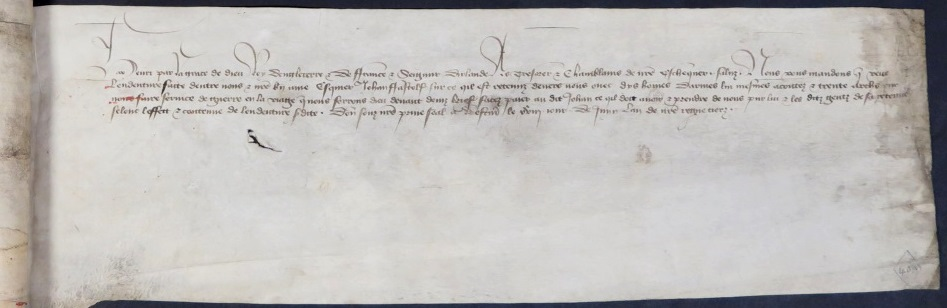 Image of Warrant for issue of payment of wages of war for John Fastolf and 10 men at arms and 30 archers