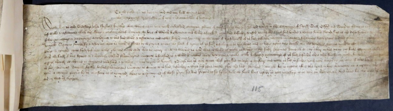 Image of proceedings of a suit in the Court of Chancery by Sir John Fastolf