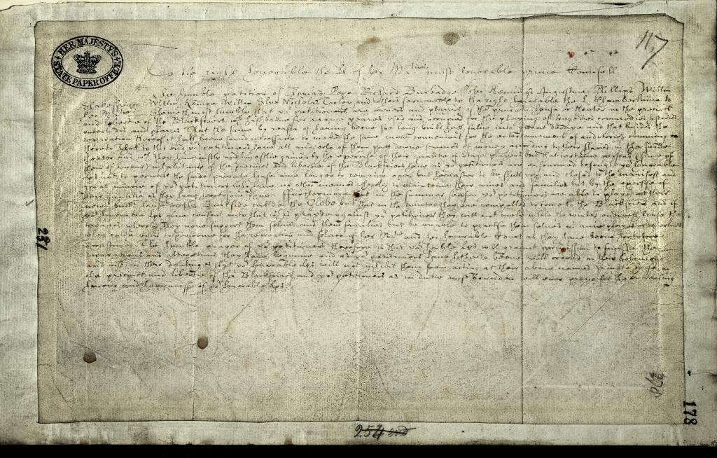 Image of petition by the players of Blackfriars theatre to keep the theatre open