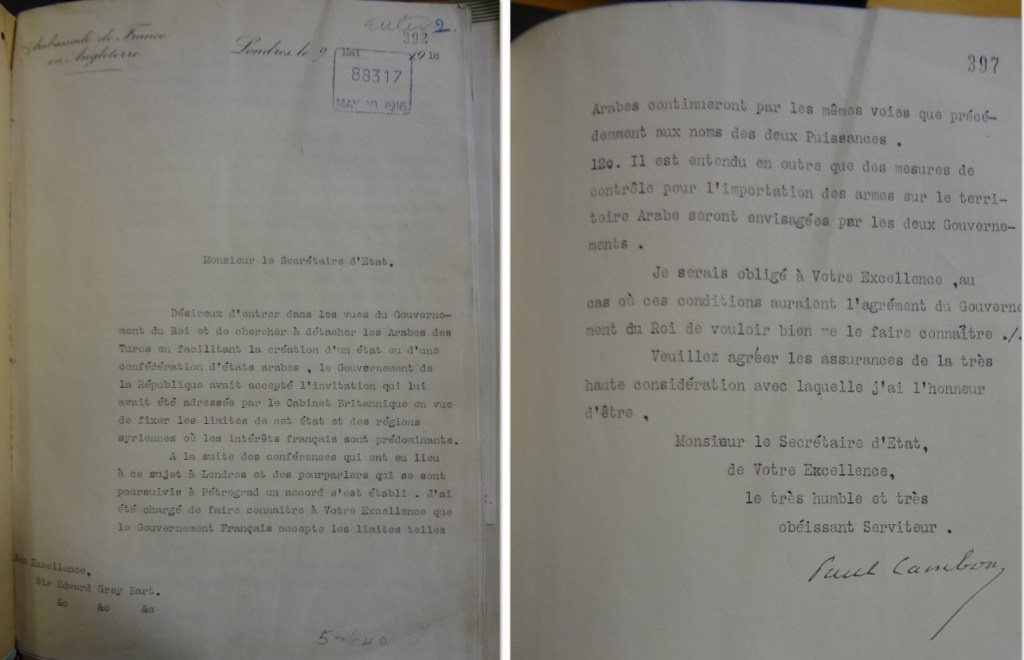 Cambon to Grey, 09/05/1916, first and last pages (catalogue reference: FO 371/2177)