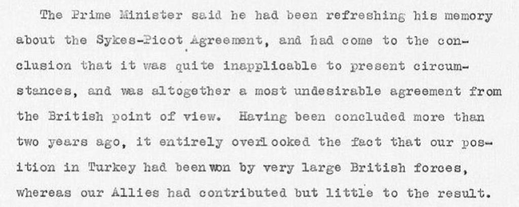 Lloyd George's thoughts on the Sykes-Picot Agreement, 03/10/1918 (catalogue reference: CAB 24/8/3)