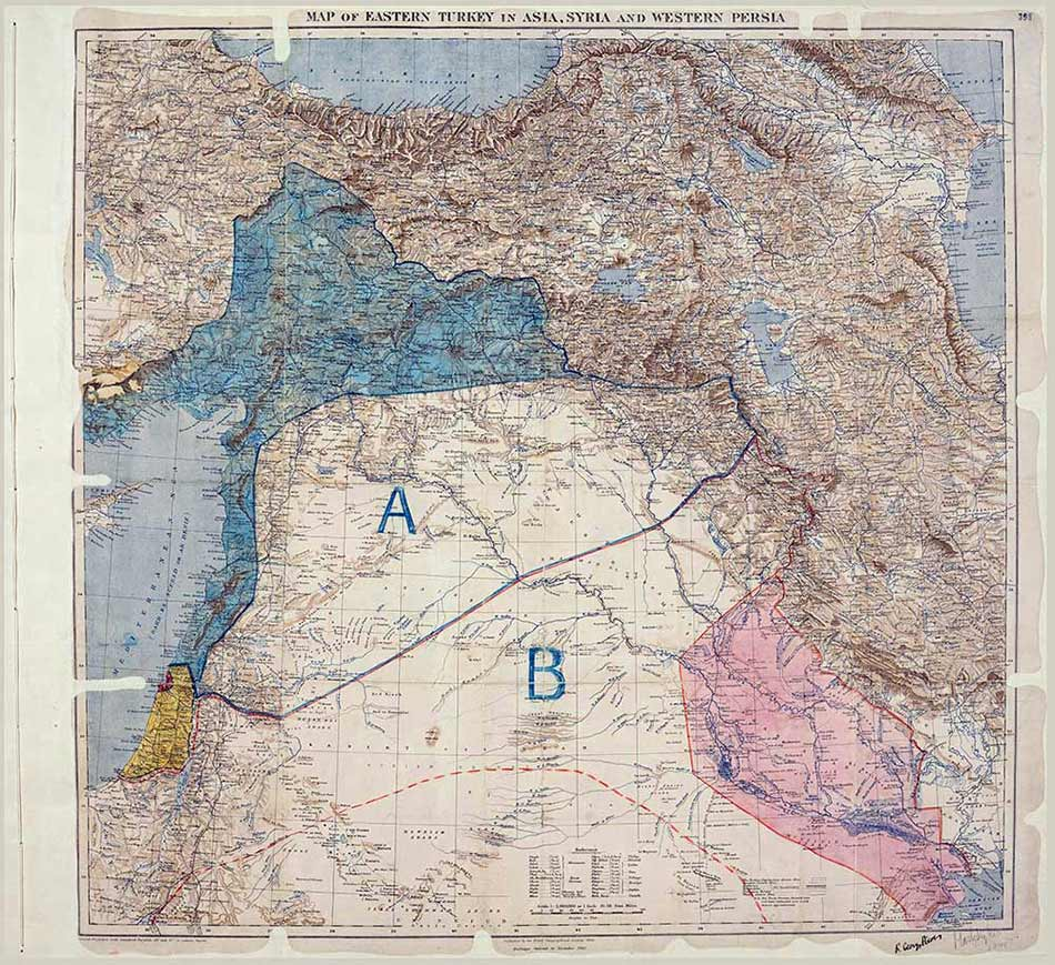 Map attached to the Sykes-Picot Agreement, signed by Mark Sykes and François Georges-Picot (catalogue reference: MPK 1/426)