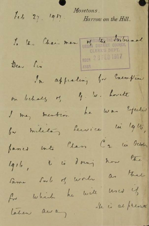 Image of letter to tribunal from Harrow School