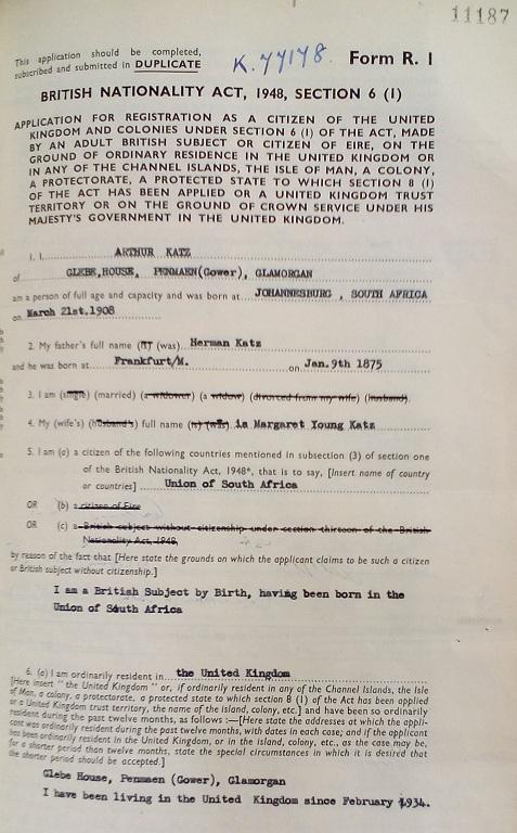 Image of Arthur Katz's naturalisation certificate