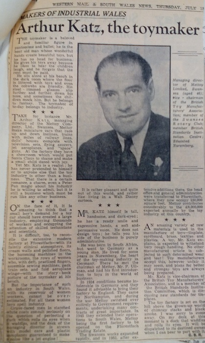 Image of newspaper clipping of an interview with Arthur Katz