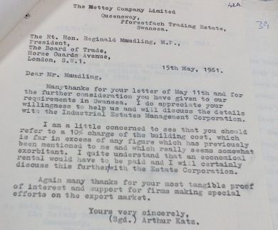 Image of a letter sent to the Board of Trade by Arthur Katz