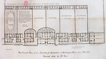 Image of a plan of the Asylum for Lunatics at Brislington House, showing counts for patients' cells, sitting rooms, entrances, passages and a 'hot wall' heated by stoves to warm cells