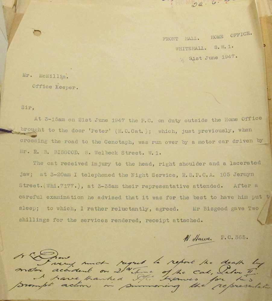 Image of typed letter about the death of Home Office cat Peter II
