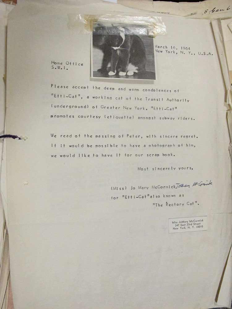Image of condolence letter from the New York Transit authority's cat, with photo attached