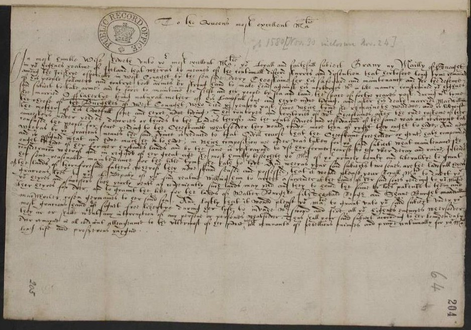 Image of Grace's petition to Elizabeth I