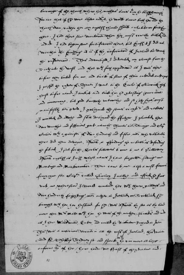 Image of Sir Henry Sydney's letter to Walsingham