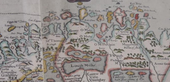 Image of a section of a map showing the west coast of county Mayo and parts of Galway