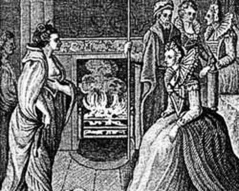 Image of illustration of Grace O'Malley meeting Queen Elizabeth I at Greenwich Castle