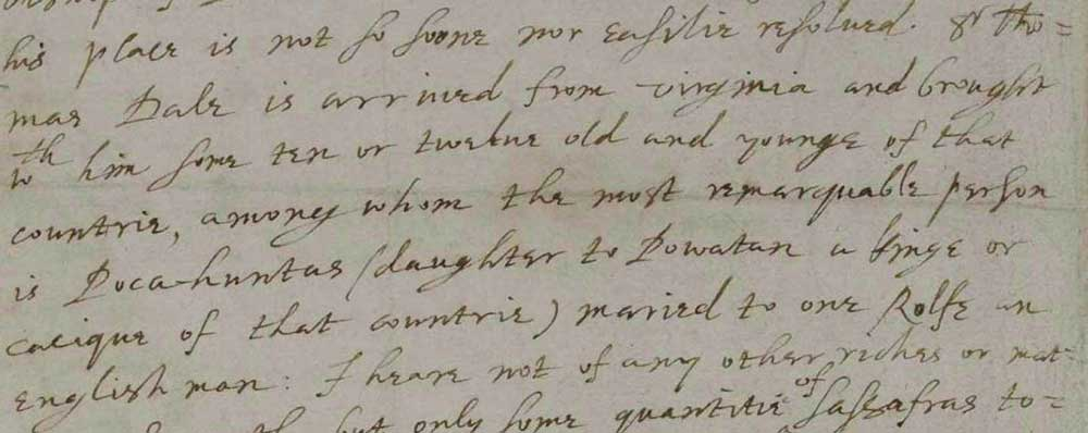 Image of letter (excerpt) from John Chamberlain to Sir Dudley Carleton