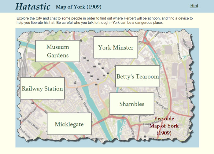 Image of a map of York on the Hatastic game