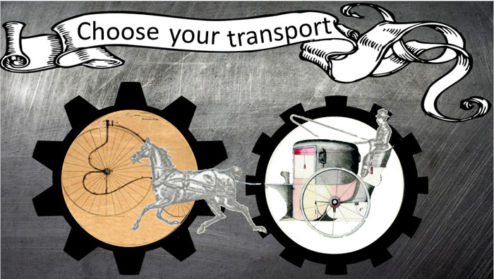 Image of a panel from the A Victorian Trip game allowing players to chose their transport