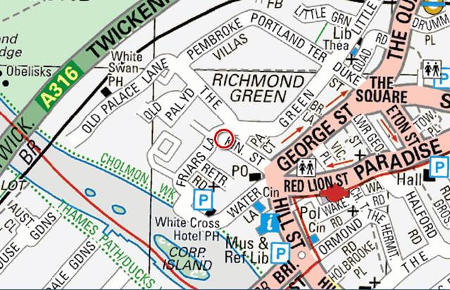 Image of a modern map of the Richmond area with the palace highlighted in the red circle
