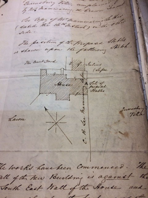 Image of a handwritten petition, against the building of a stable