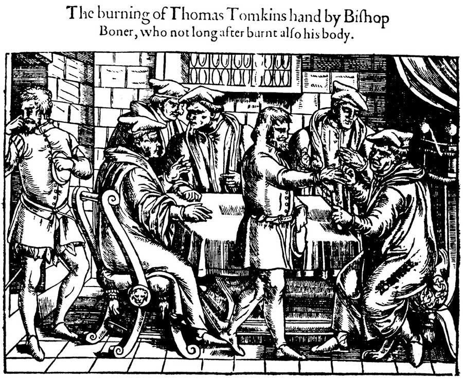 Bishop Bonner burns Tomkins' hand in an attempt to make him change his religious views (from The Acts and Monuments Online)