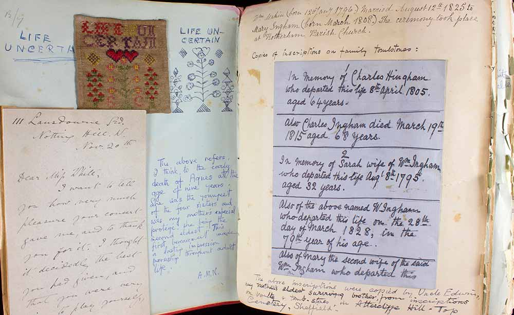 Image of a double-page spread from Louisa White's scrapbook