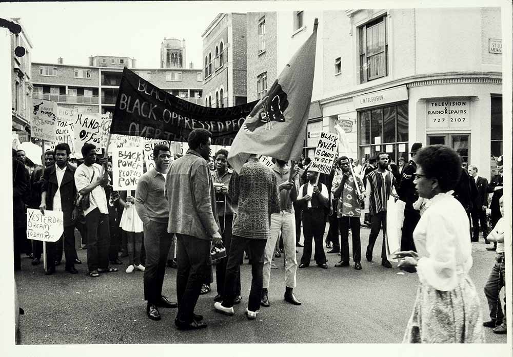 A photograph of a group of people on Black Power demonstration and march in 1970