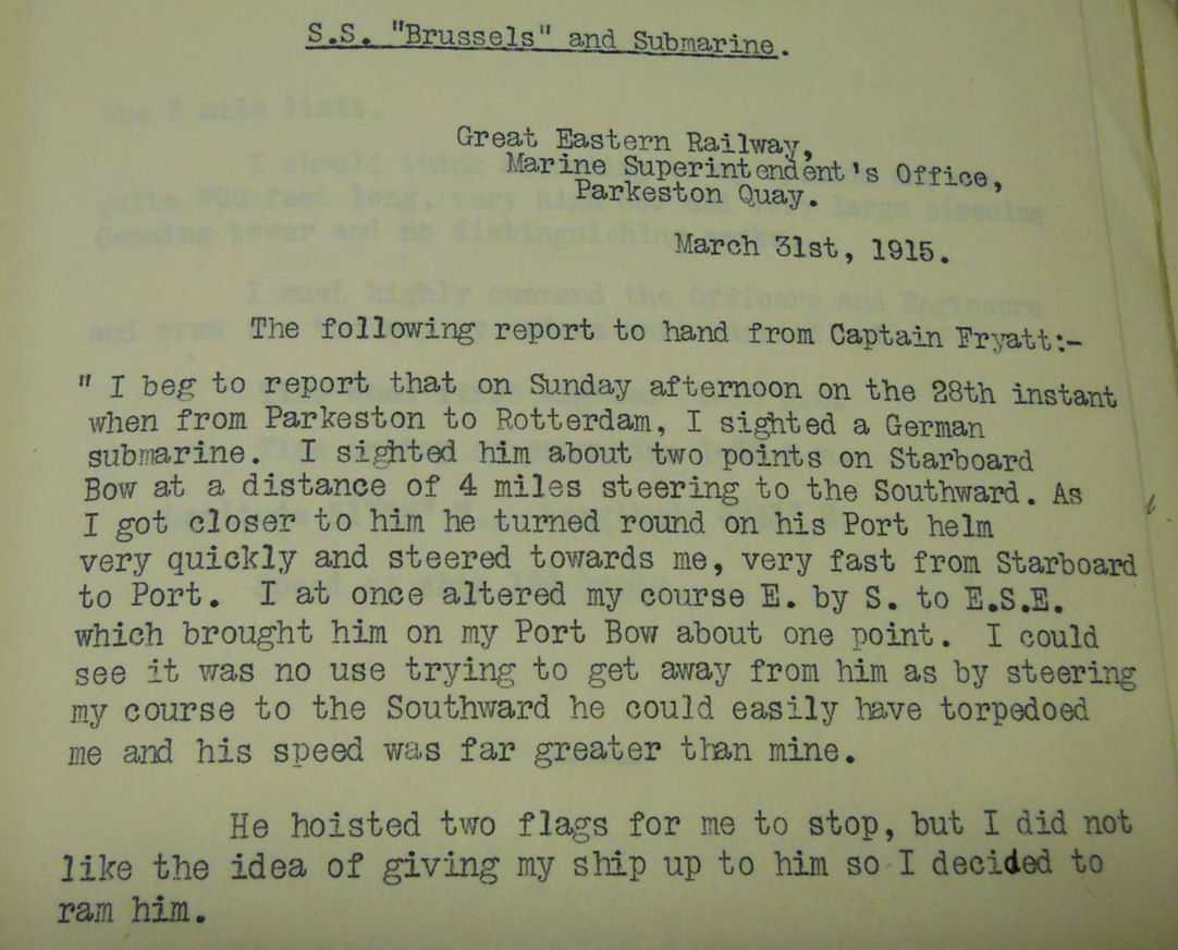 Image of a typed report of an encounter with a German submarine