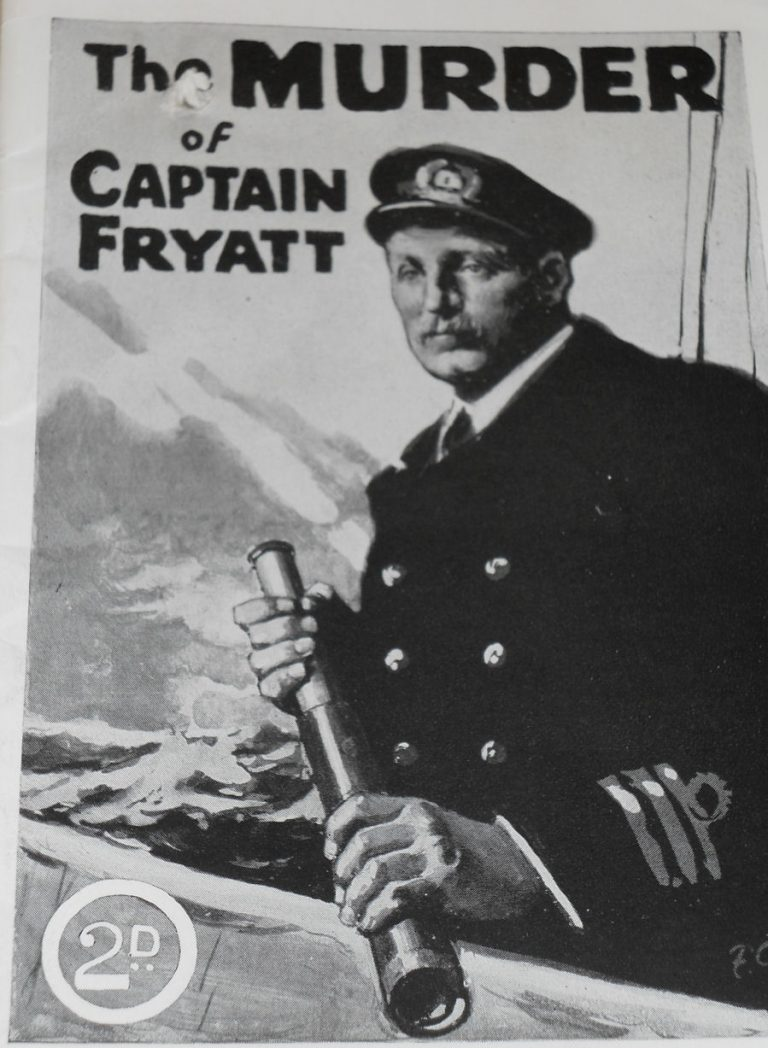 Image of the front cover of a booklet. The title reads 'The murder of Captain Fryatt'