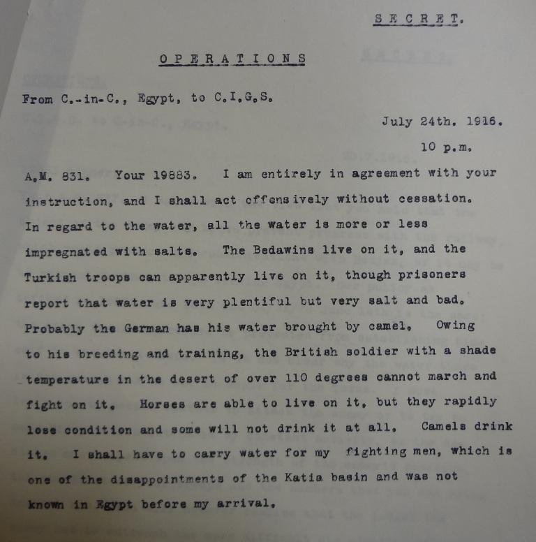 Murray to Robertson, 24 July 1916 (catalogue reference: WO 106/715)