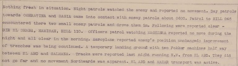 No 3 Section Canal Defences war diary, 23 July 1916 showing apparent stalled advance of Ottoman forces (catalogue reference: WO 95/4429)