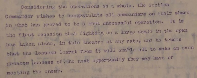 Report on operations by No 3 Section Canal Defences commander, Major General Sir Herbert Lawrence, 22 August 1916 (catalogue reference: WO 95/4429)