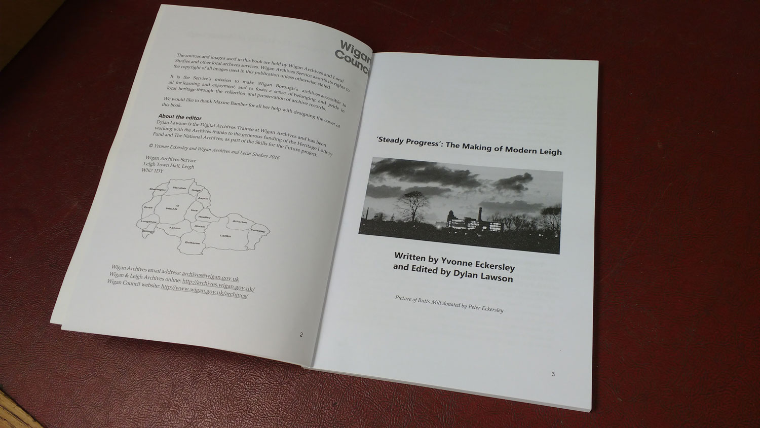 A photograph of the book 'Steady Progress: The Making of Modern Leigh' by local historian and Wigan Archives volunteer Yvonne Eckersley