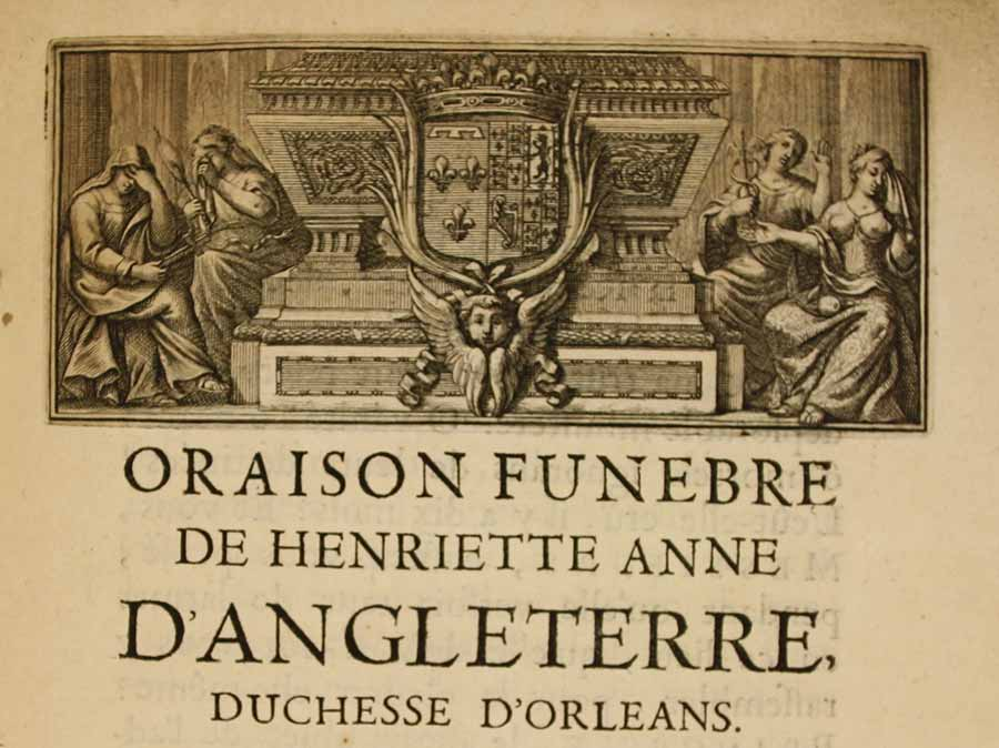 Image of the front cover of the printed pamphlet of the oration given at Henriette's funeral, featuring an image of women weeping